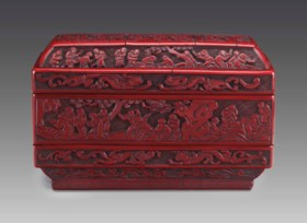 A RARE CARVED RED LACQUER TWO-TIERED RECTANGULAR BOX AND COV