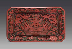 A VERY RARE AND SUPERBLY CARVED IMPERIAL POLYCHROME LACQUER