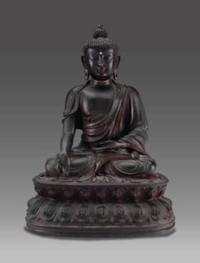 明 銅藥師佛坐像
