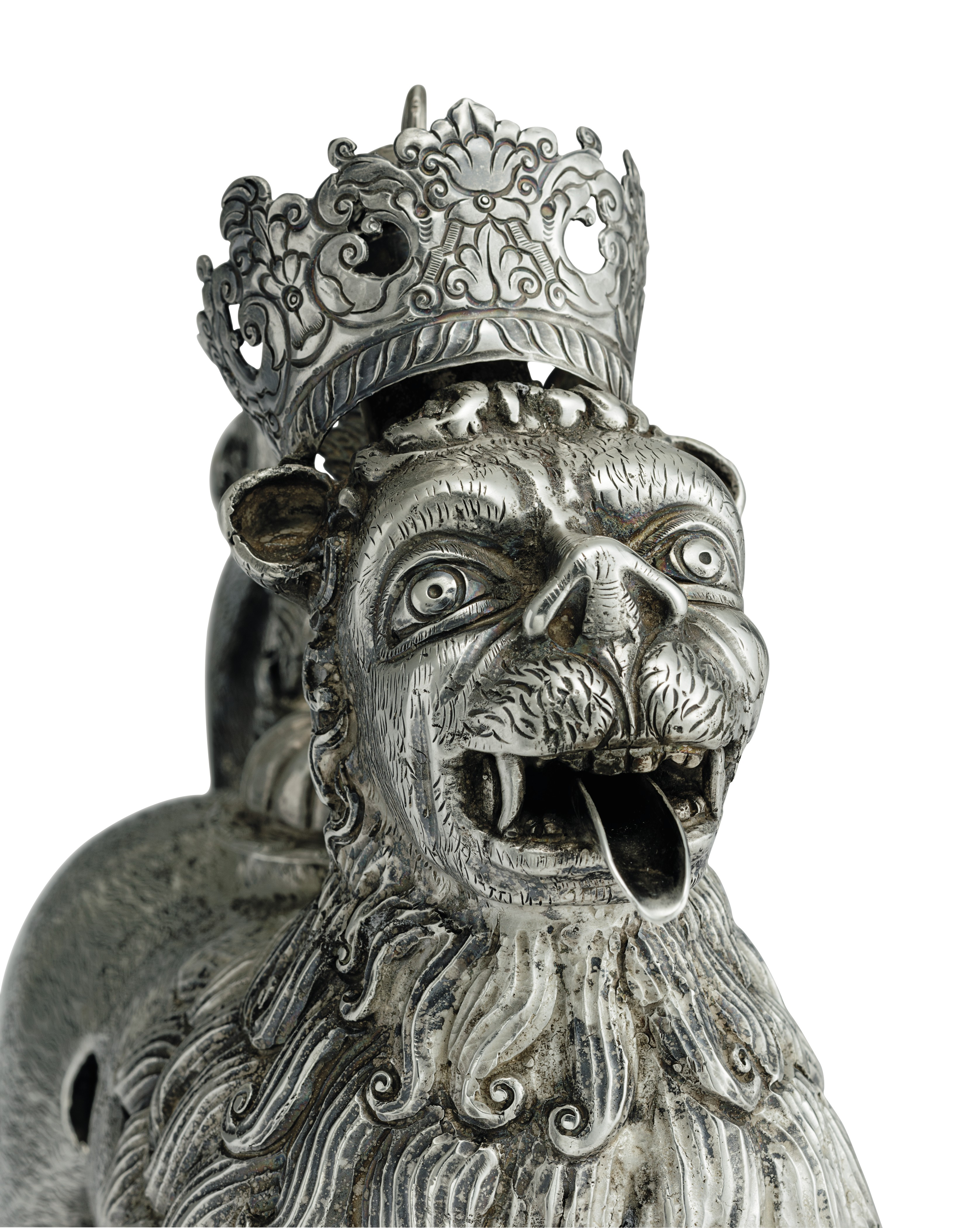 A PAIR OF SPANISH COLONIAL SILVER AQUAMANILES