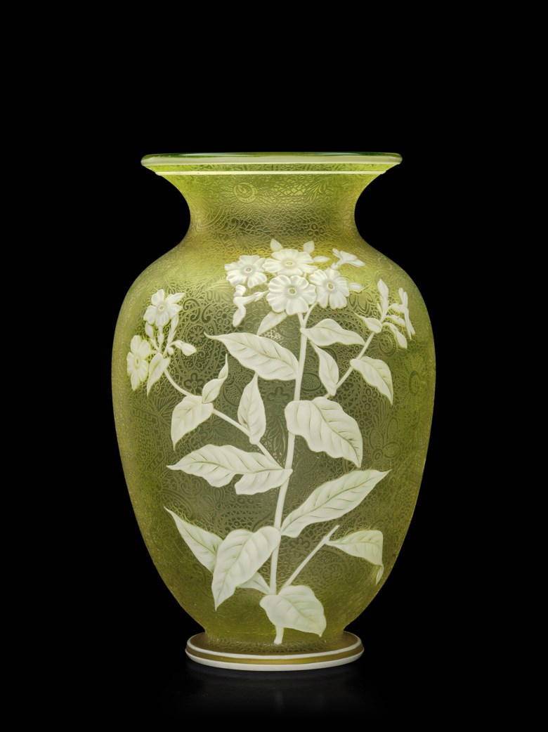 A Thomas Webb & Sons cameo glass vase, circa 1900, acid-etched Thomas Webb & Sons cameo mark. 10¼  in (26  cm) high. Estimate $2,000-3,000. This lot is offered in The Collector Silver, 19th Century Furniture, Sculpture, Works of Art, Ceramics & Carpets on 10 April 2018  at Christie's in New York