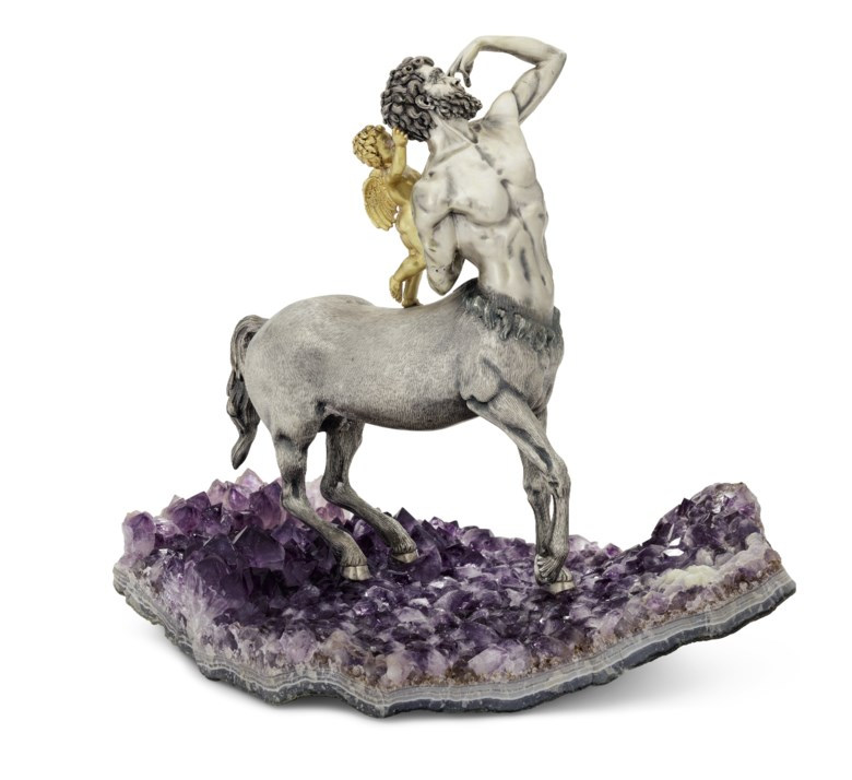 An Italian parcel-gilt silver model of a centaur on an amethyst base, Mark of Luigi Cervone, Milan, 20th century. 12  in (30.5  cm) high. Estimate $4,000-6,000. This lot is offered in The Collector Silver, 19th Century Furniture, Sculpture, Works of Art, Ceramics & Carpets on 10 April 2018  at Christie's in New York
