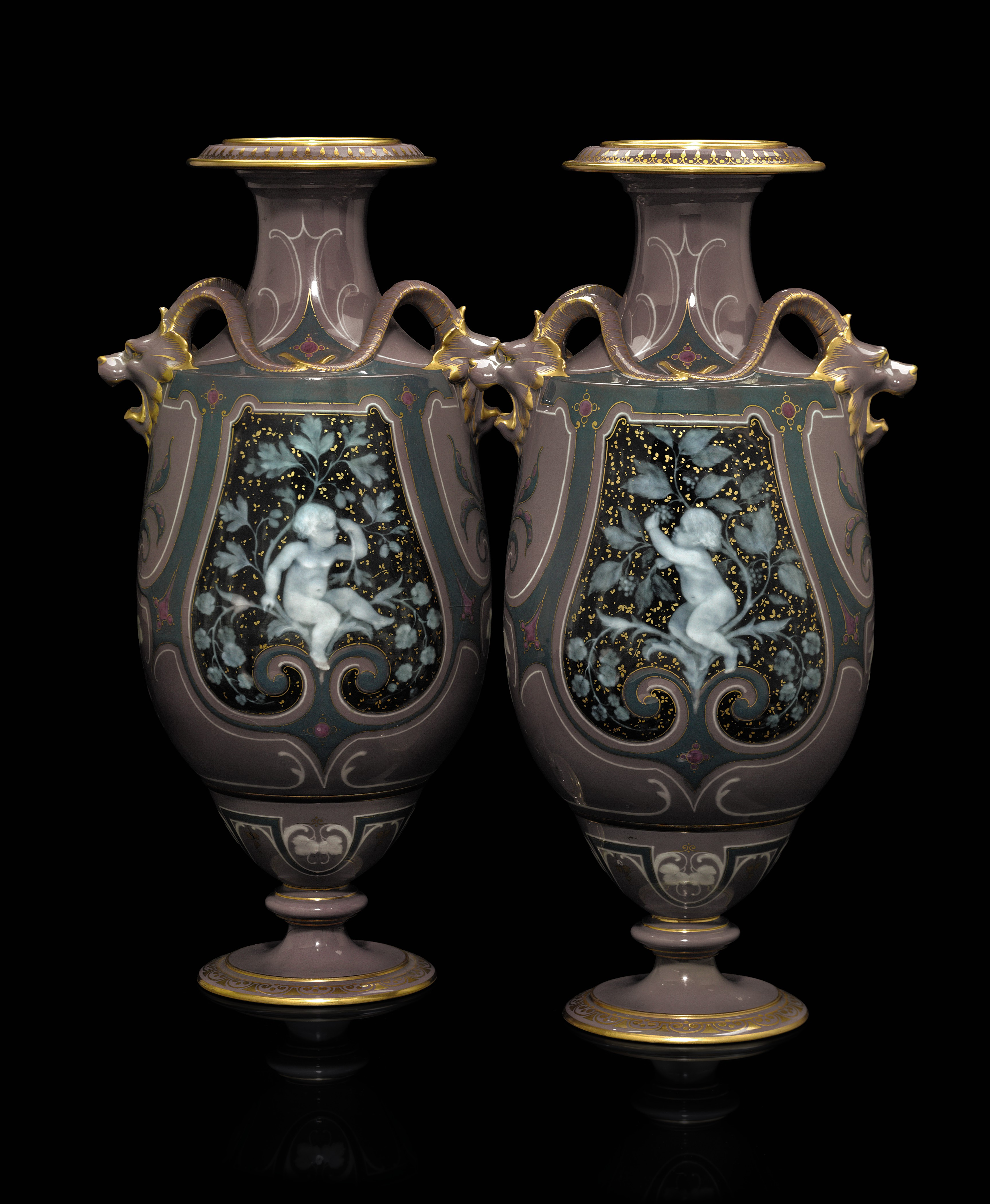 A PAIR OF SEVRES PORCELAIN PAT