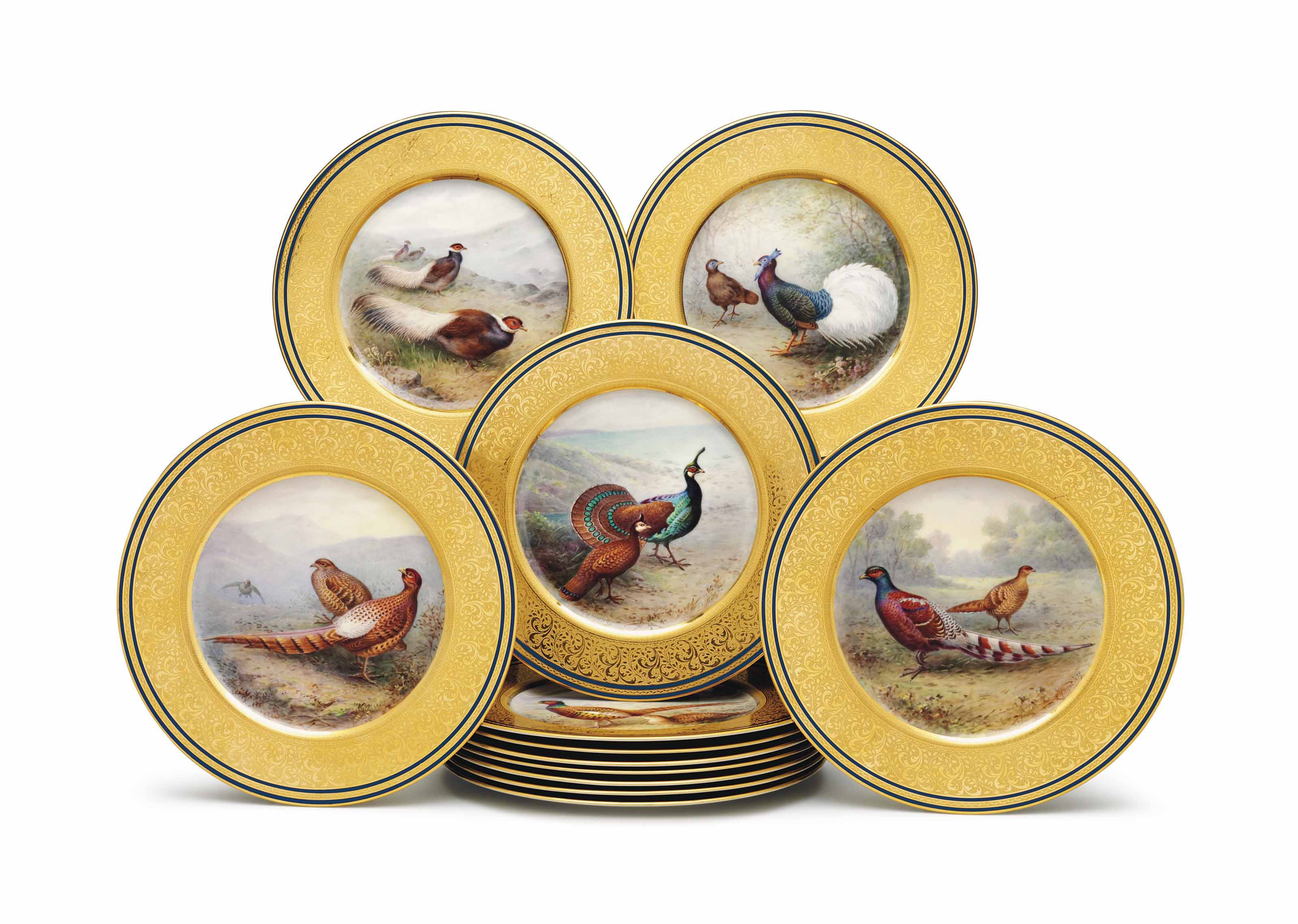 TWELVE LENOX PORCELAIN ORNITHOLOGICAL CABINET PLATES
