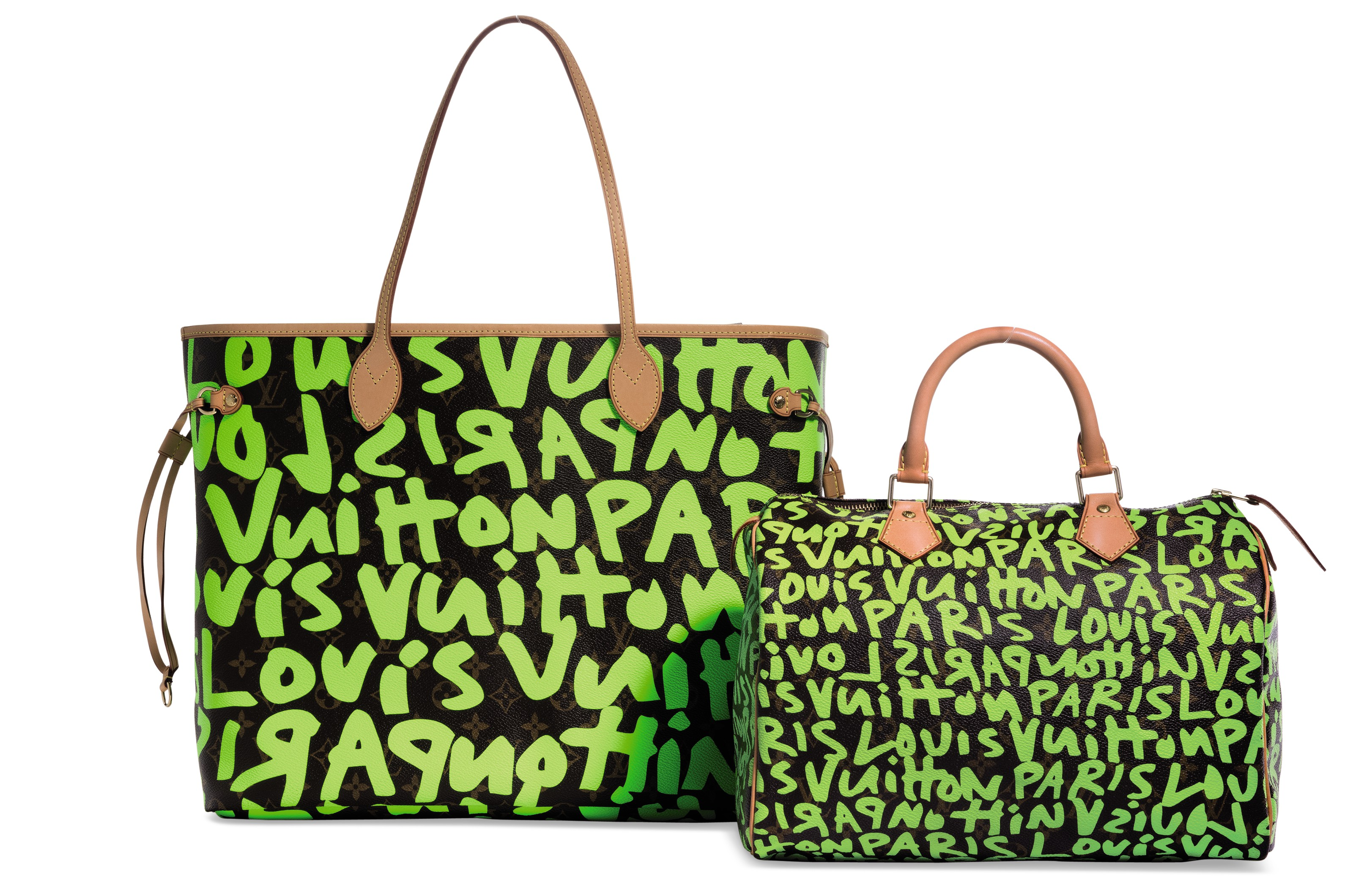 3973f2bb50f5 A SET OF TWO  A LIMITED EDITION DAY-GLO GREEN MONOGRAM GRAFFITI ...