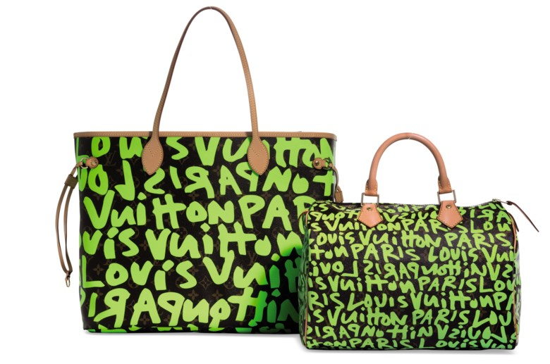375d65a9b48139 A set of two a limited-edition day-glo green monogram graffiti Neverfull GM