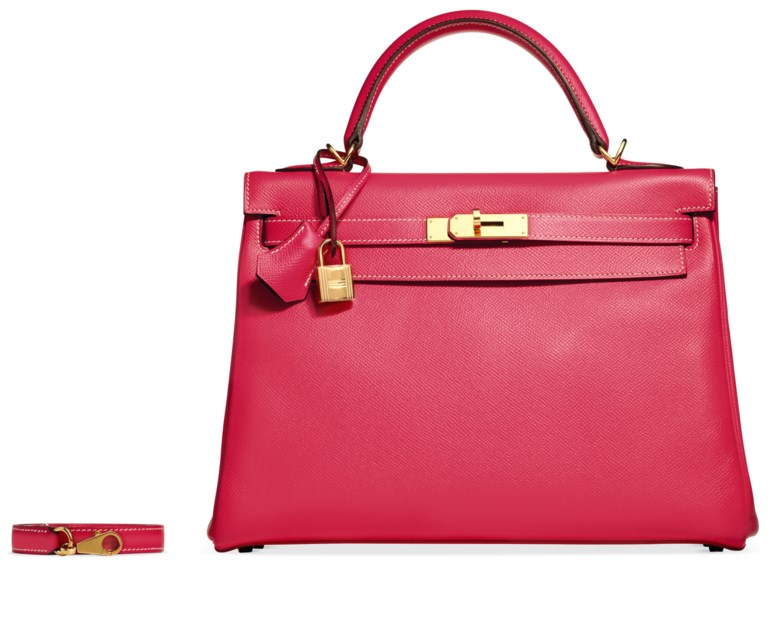 A custom rose tyrien & ultraviolet epsom leather retourné Kelly 32 with gold hardware, Hermès, 2011. 32 w x 23 h x 11 d cm. Estimate $8,000-10,000. Offered in What Goes Around Comes Around 25th Anniversary Auction on 18 September 2018 at Christie's in New York