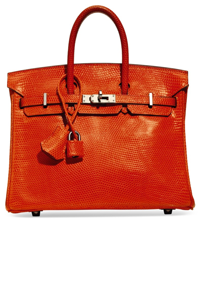 cd380ba4b2 Put in your storage. A shiny tangerine lizard Birkin 25 with ruthenium  hardware