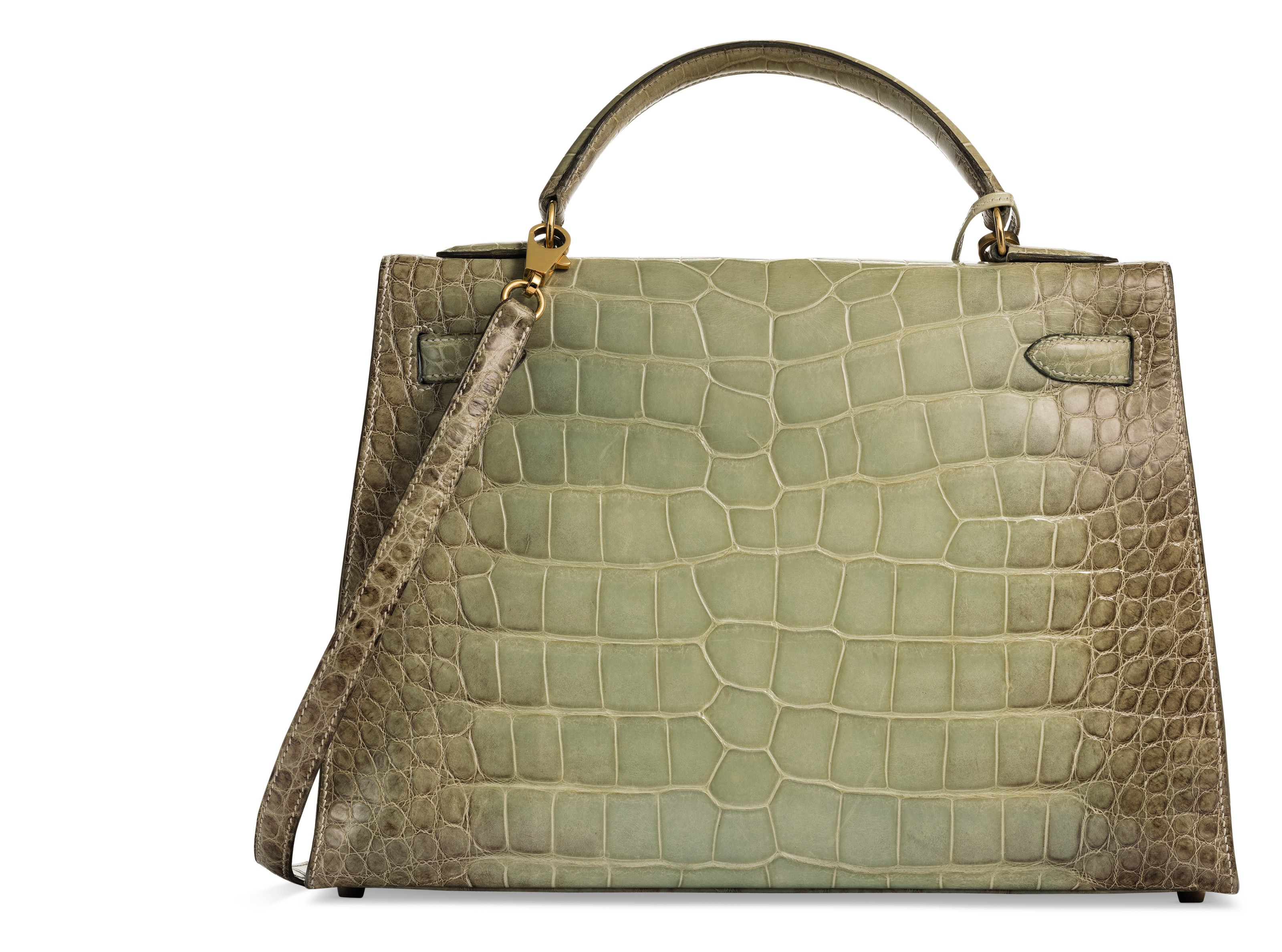 A RARE, SHINY NATURA VERT CÉLADON ALLIGATOR SELLIER KELLY 32 WITH GOLD HARDWARE