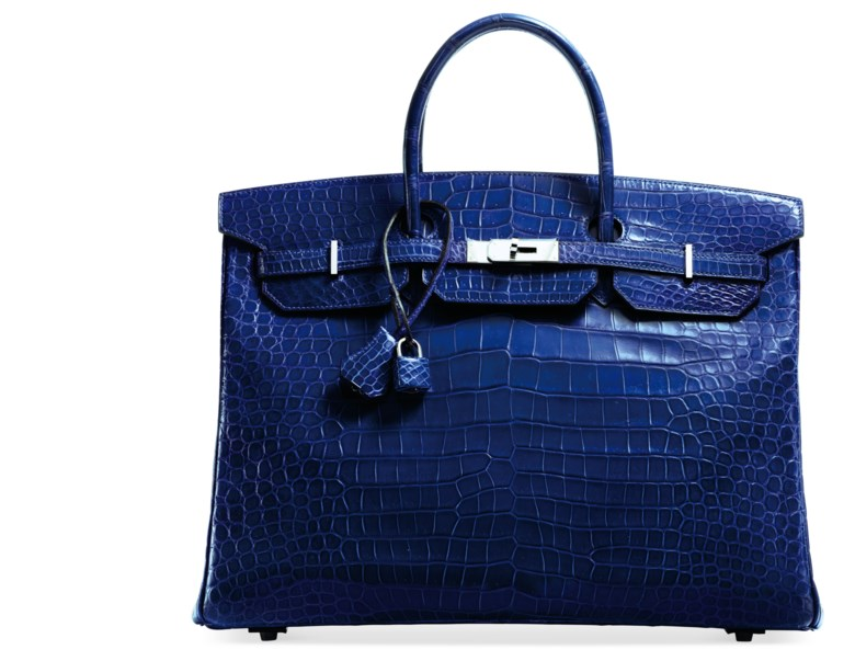 A bleu électrique porosus crocodile Birkin 40 with palladium hardware, Hermès, 2013. 40 w x 32 h x 20 d cm. Estimate $20,000-30,000. Offered in What Goes Around Comes Around 25th Anniversary Auction on 18 September 2018 at Christie's in New York