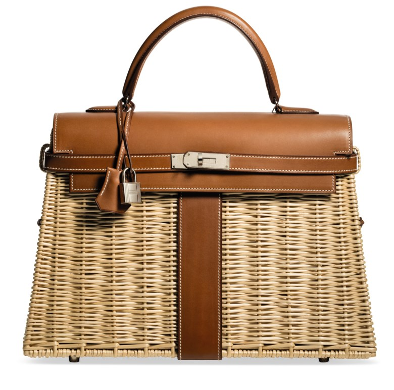 A limited-edition natural barénia leather & osier Picnic Kelly 35 with palladium hardware, Hermès, 2002. Width 35 cm, height 25 cm, depth 13 cm. Estimate $24,000-30,000. Offered in What Goes Around Comes Around 25th Anniversary Auction on 18 September 2018 at Christie's in New York