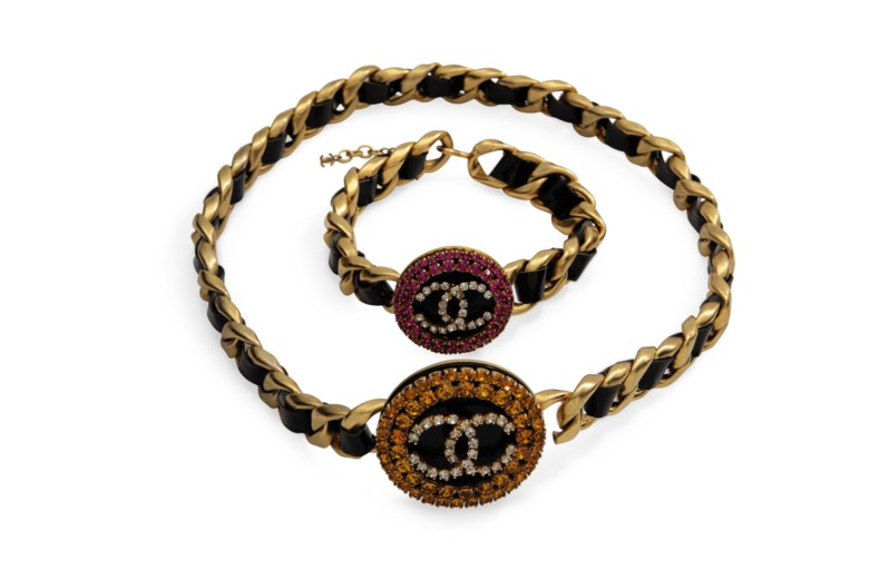 A crystal and patent leather jewellery set, Chanel, SpringSummer 1995. Sold for $2,000 on 18 September 2018 at Christie's in New York