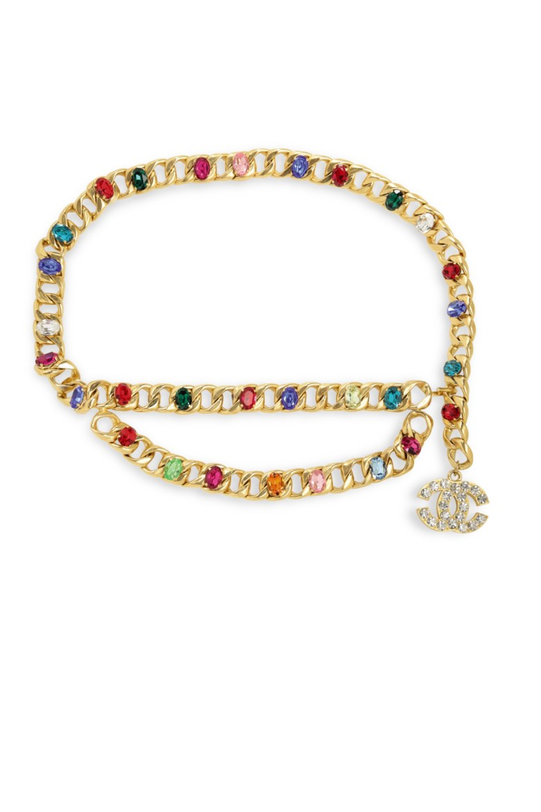 A gold chain and multicolour jewelled belt, Chanel, SpringSummer 1993. 70 cm. Estimate $1,000-1,500. Offered in the What Goes Around Comes Around 25th Anniversary Auction on 18 September 2018 at Christie's in New York