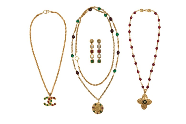 A set of four gold and multicolour Gripoix jewels, Chanel, FallWinter 1995, 1980s. Sold for $4,000 on 18 September 2018 at Christie's in New York