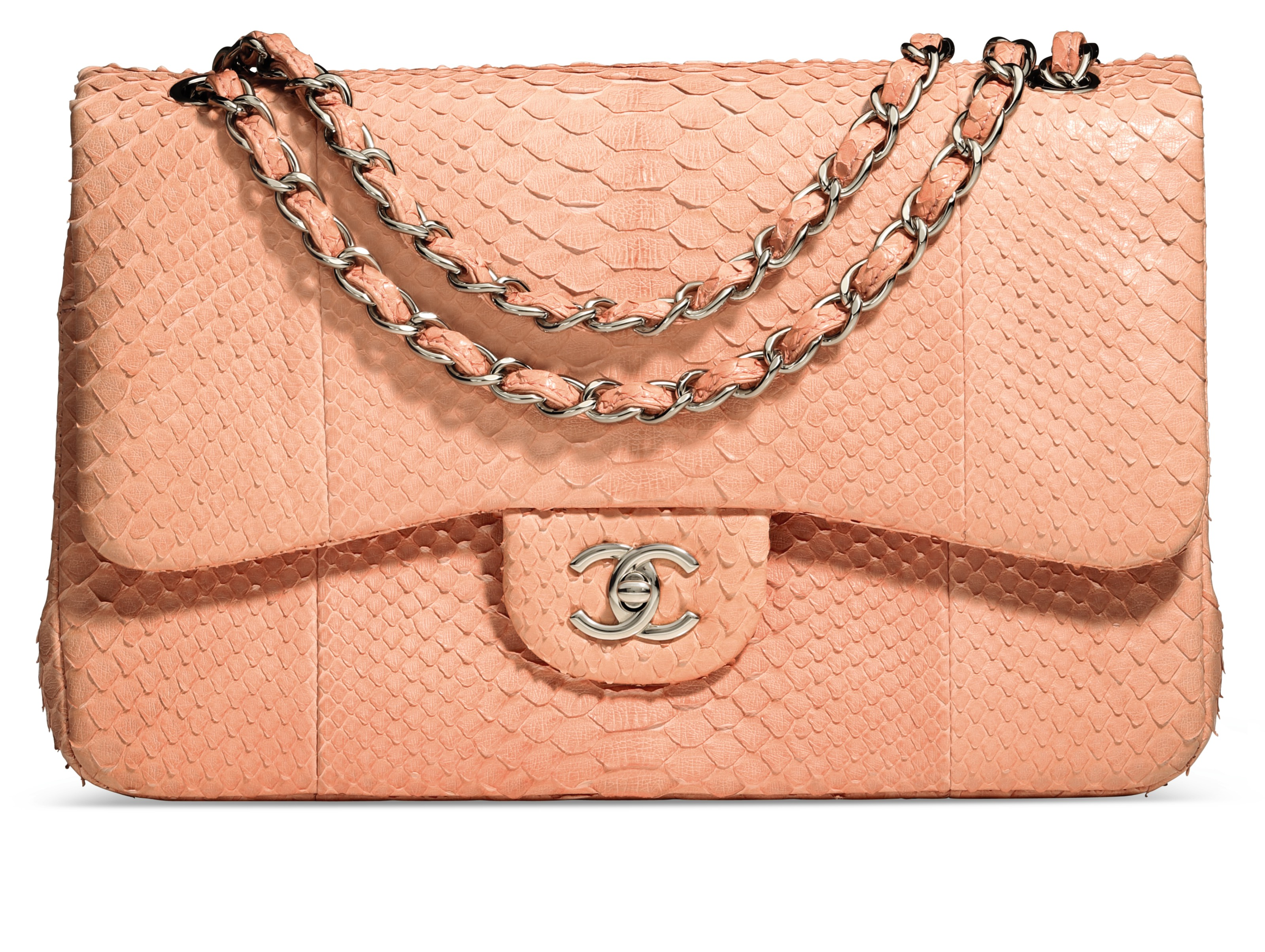 c607dbfde2d1 A PINK PYTHON JUMBO DOUBLE FLAP BAG WITH SILVER HARDWARE   CHANEL ...
