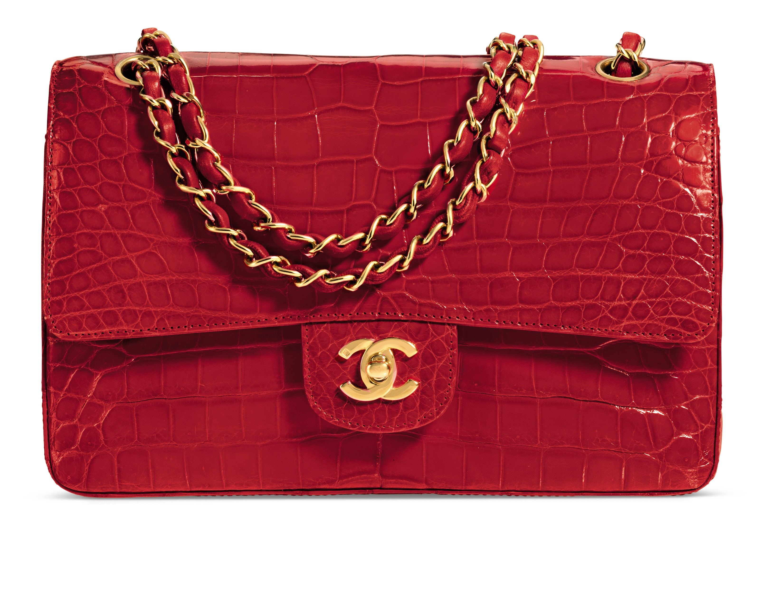 A SHINY RED ALLIGATOR CLASSIC MEDIUM DOUBLE FLAP BAG WITH GOLD HARDWARE