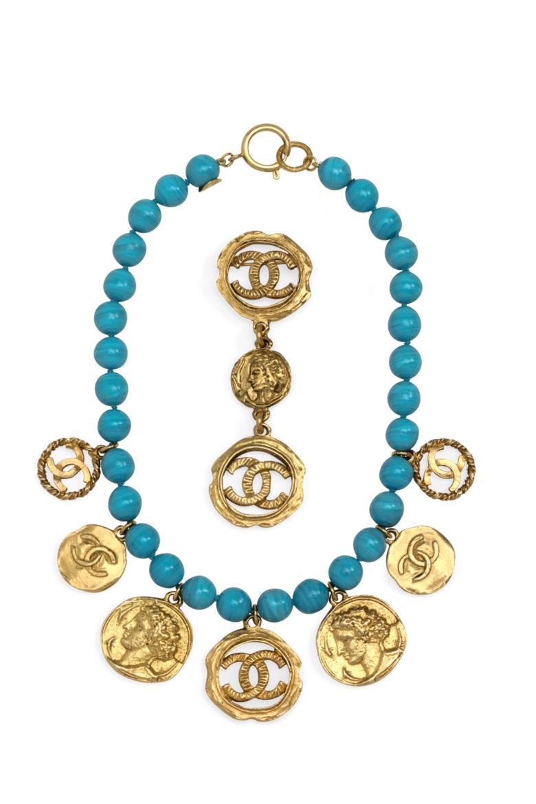 A set of two turquoise glass and gold jewels, Chanel, early 1980s. Sold for $1,250 on 18 September 2018 at Christie's in New York
