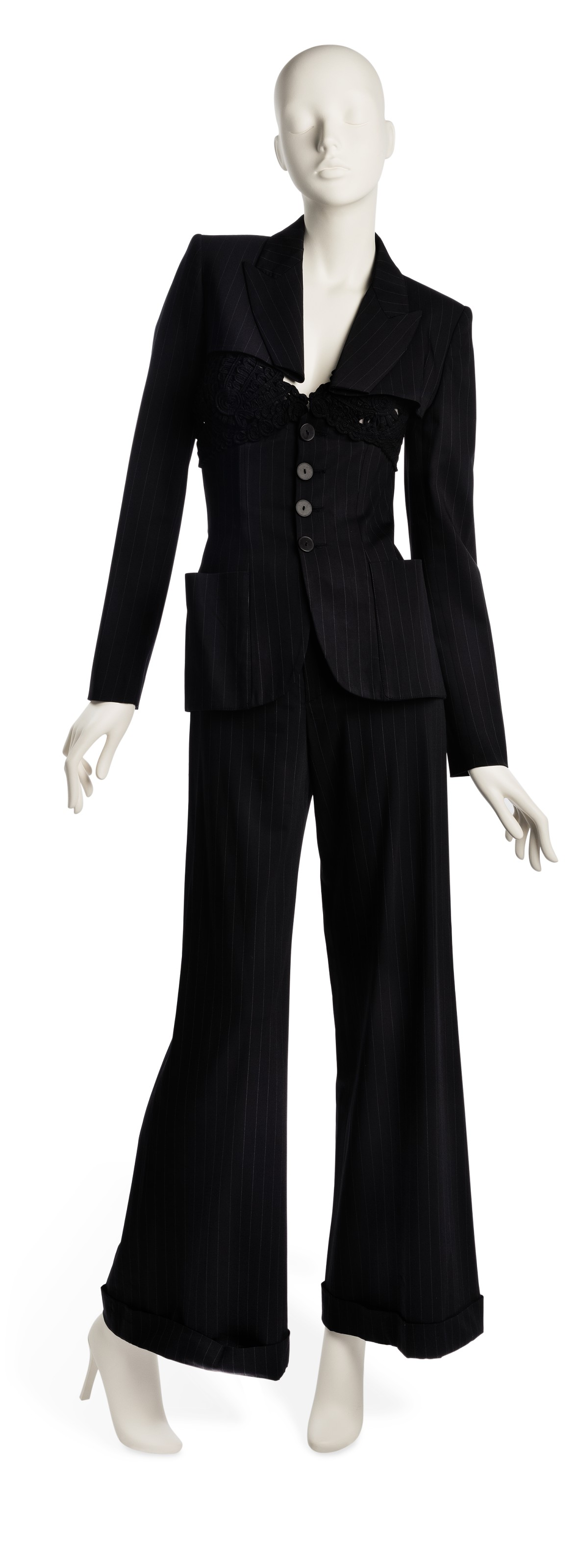 A THREE PIECE PINSTRIPE SUIT