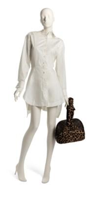 A SET OF TWO: A CENTENAIRE MONOGRAM LEOPARD PONYHAIR ALMA BAG  A WHITE SHIRT DRESS