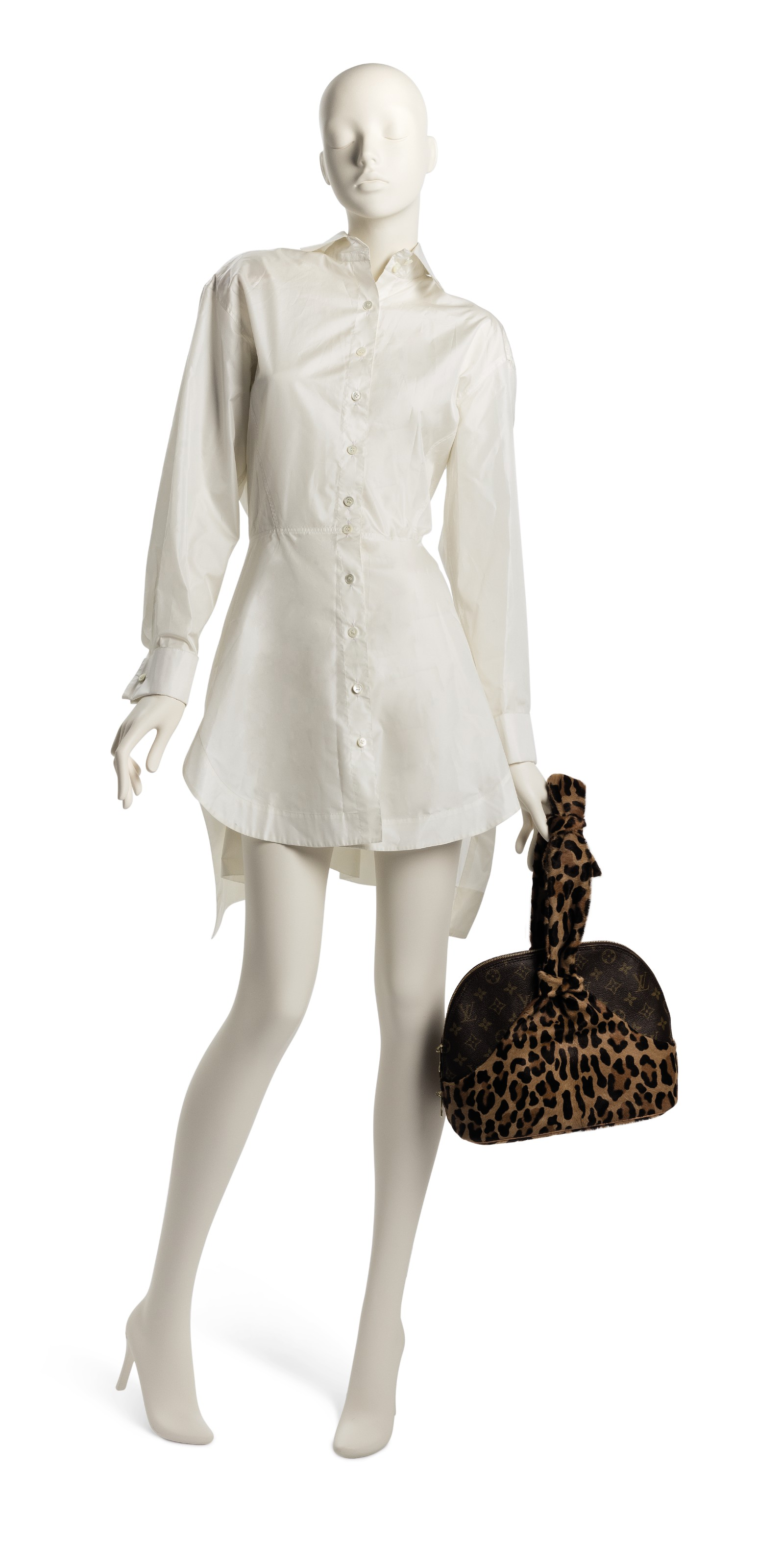 A SET OF TWO: A CENTENAIRE MONOGRAM LEOPARD PONYHAIR ALMA BAG  A WHITE SHIRT DRESS
