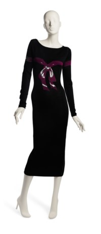 A BLACK KNIT BOW PRINT DRESS