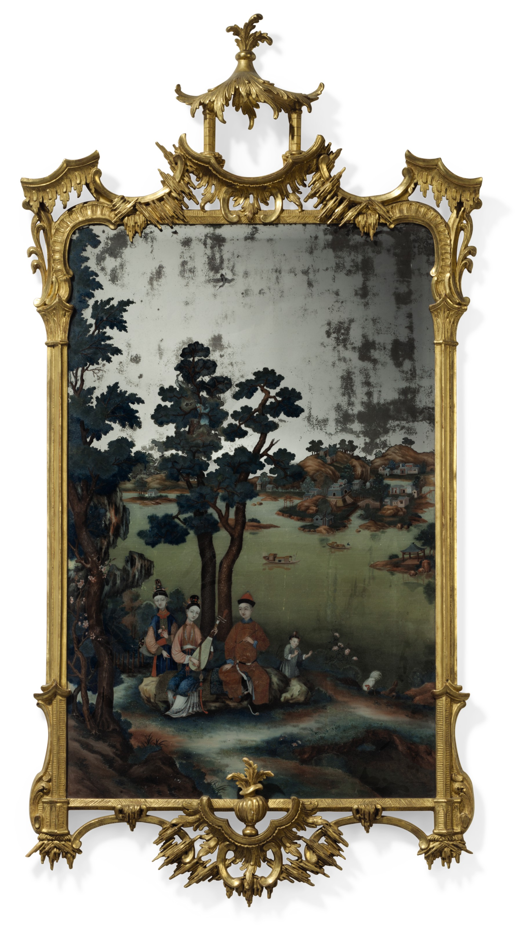 a pair of chinese export reverse painted mirror pictures circa