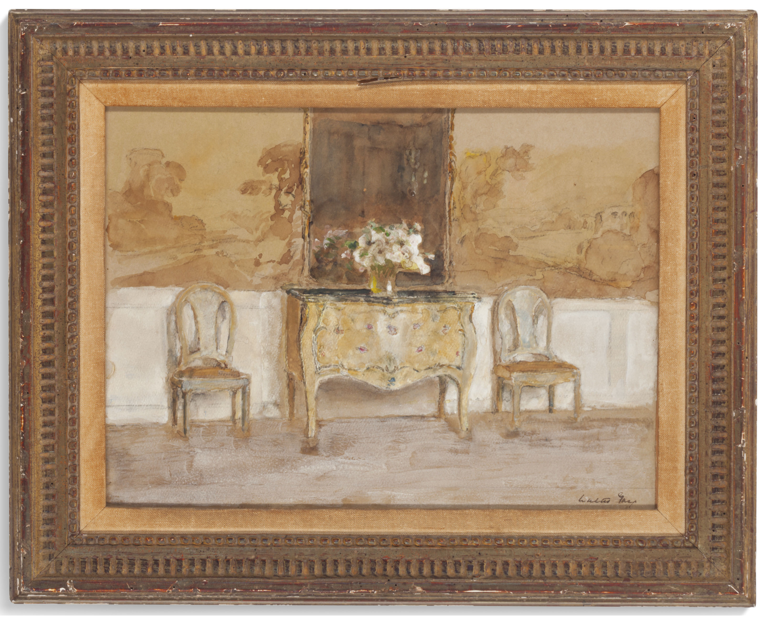 Interior with a commode and a pair of side chairs