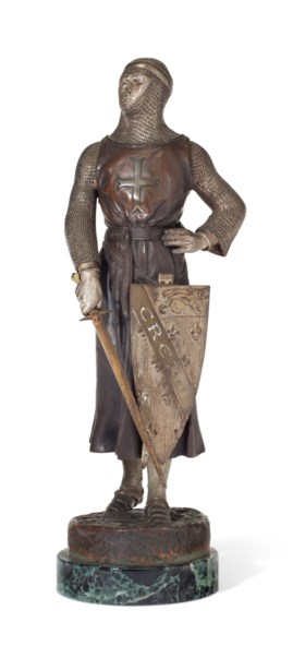 A FRENCH PATINATED AND SILVERED BRONZE FIGURE OF A CRUSADER