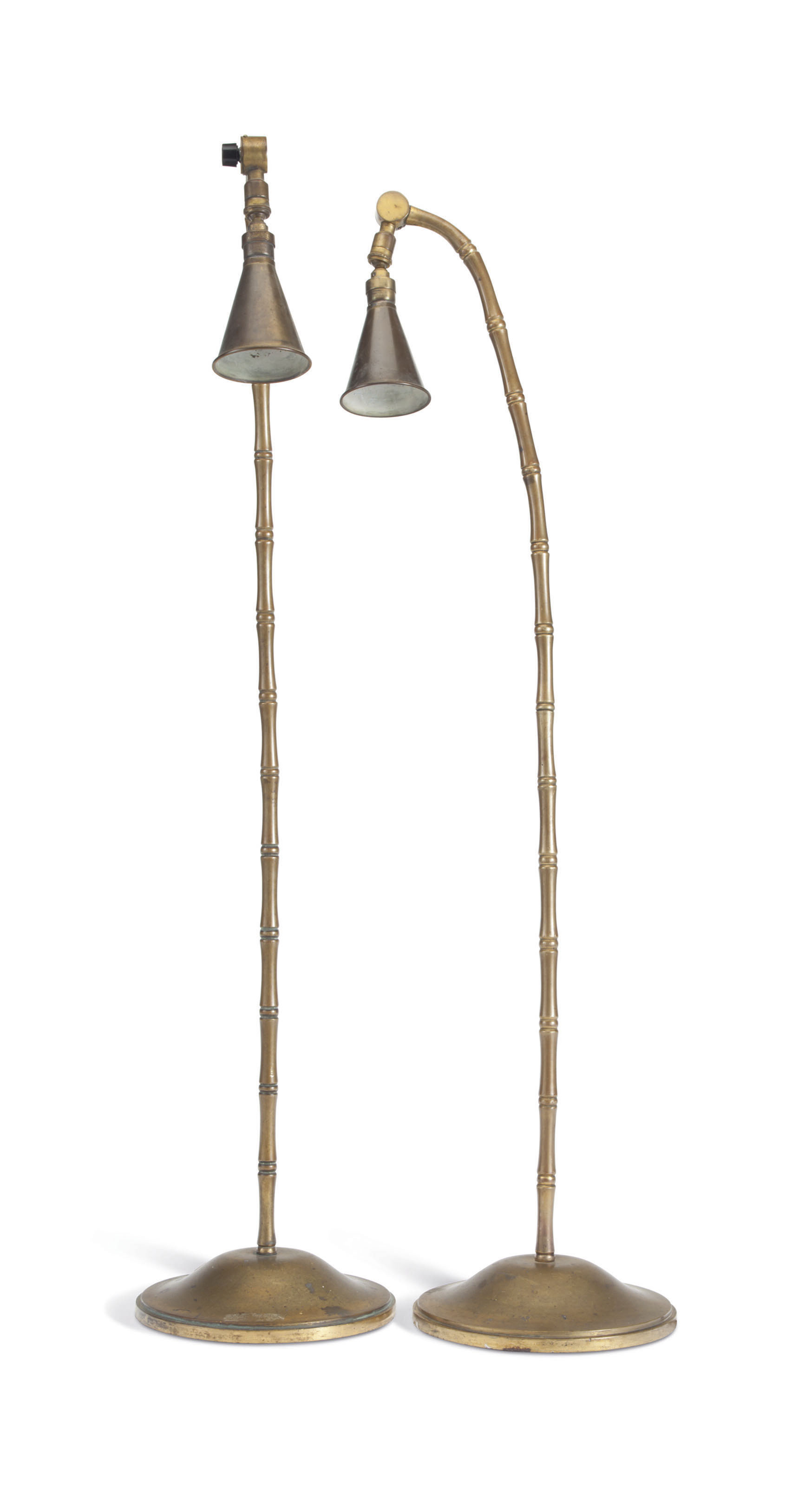 A PAIR OF FRENCH CAST-BRASS LA