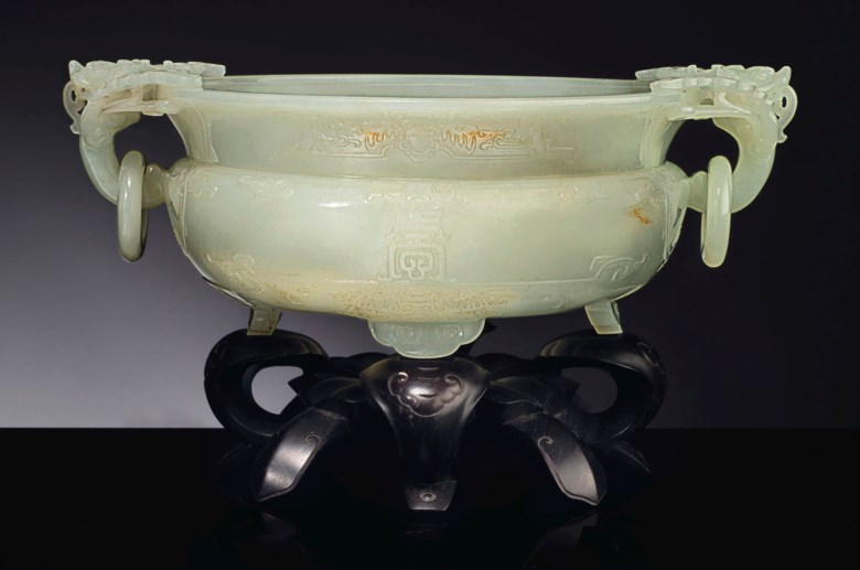A well-carved white jade marriage bowl, Qianlong Period (1736-1795). 10¼  in (26 cm) wide. Sold for $588,500 on 13 September 2018 at Christie's in New York