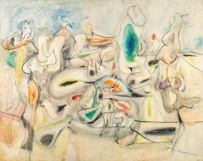Bought by David Rockefeller in 1997 Arshile Gorky (1904-1948), Good Afternoon, Mrs. Lincoln, 1944. Oil on canvas. 30⅛ x 38  in (76.5 x 96.5  cm). Sold for $14,037,500 on 13 November 2018 at Christie's in New York