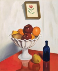 Fruit Bowl on Red Oilcloth
