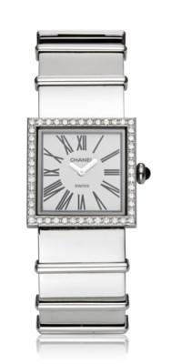 Chanel Ladies Steel Bracelet Watch With Diamond Bezel