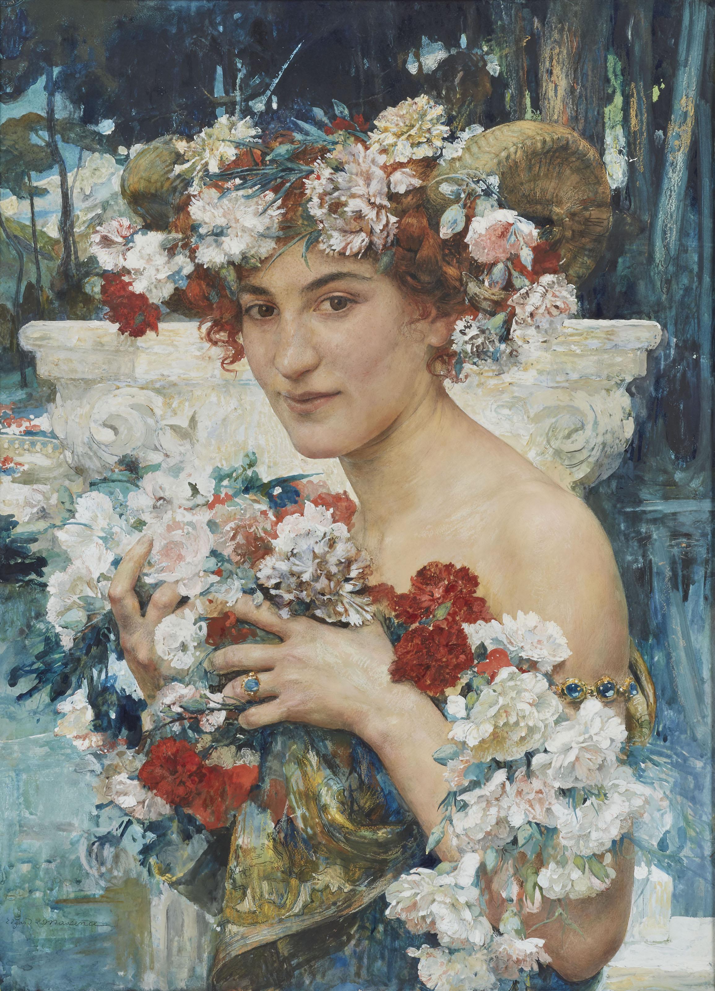 Faunesse entourée de fleurs