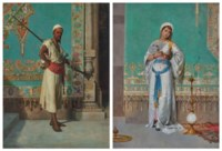 Portrait d'une orientale à l'éventail (1) ; et Portrait d'un oriental avec un fusil (2)