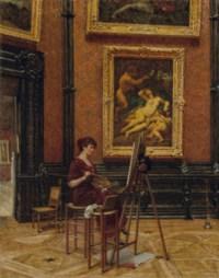Une artiste copiant le tableau Jupiter et Antiope du Corrège, au Louvre