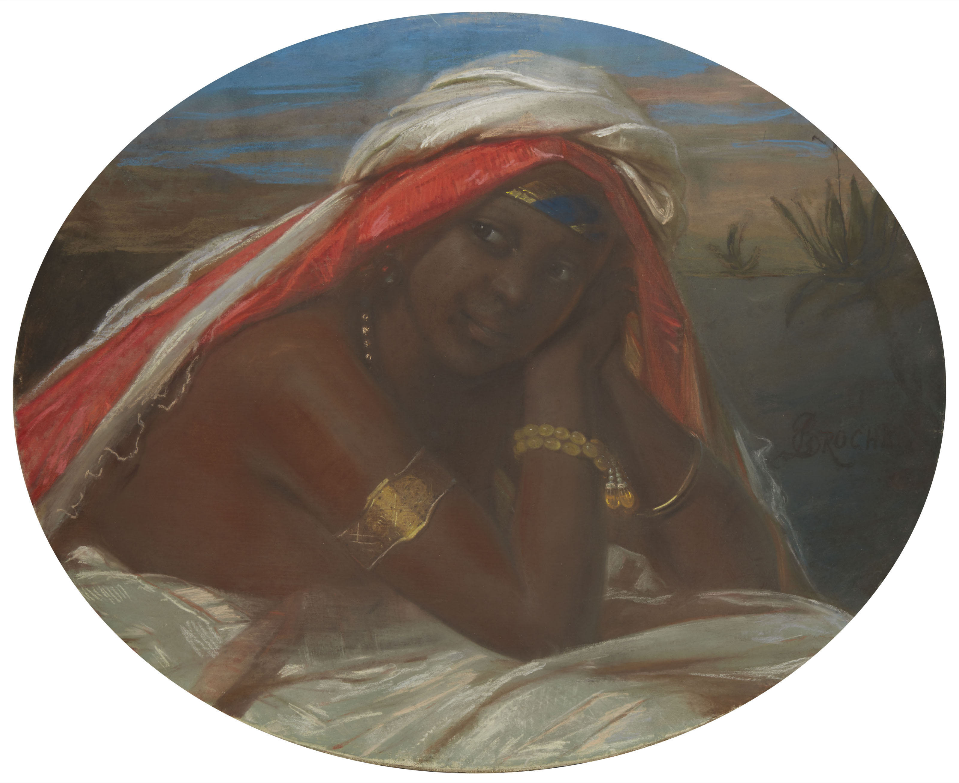 Portrait d'une femme noire enturbannée en buste