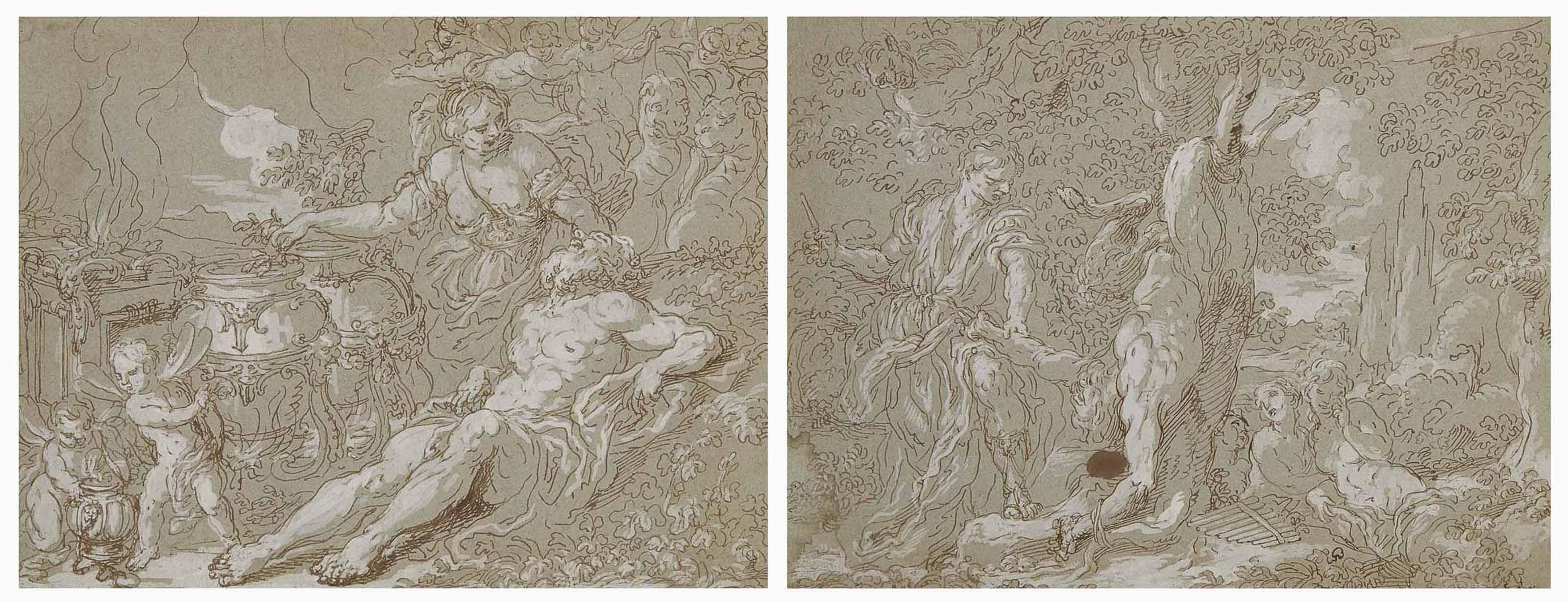 Médée rajeunit Éson ; et Le Supplice de Marsyas par Apollon