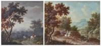 Paysans avec chien et homme à cheval dans un paysage pluvieux ; et Chasse au cerf