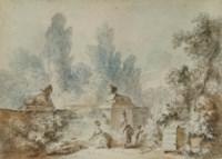 Pêcheur et sa compagne sur un pont dans un paysage arboré ; et Deux femmes et un enfant jouant autour d'une fontaine entourée de deux lions dans un parc