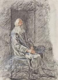 Homme barbu assis dans l'embrasure d'une porte