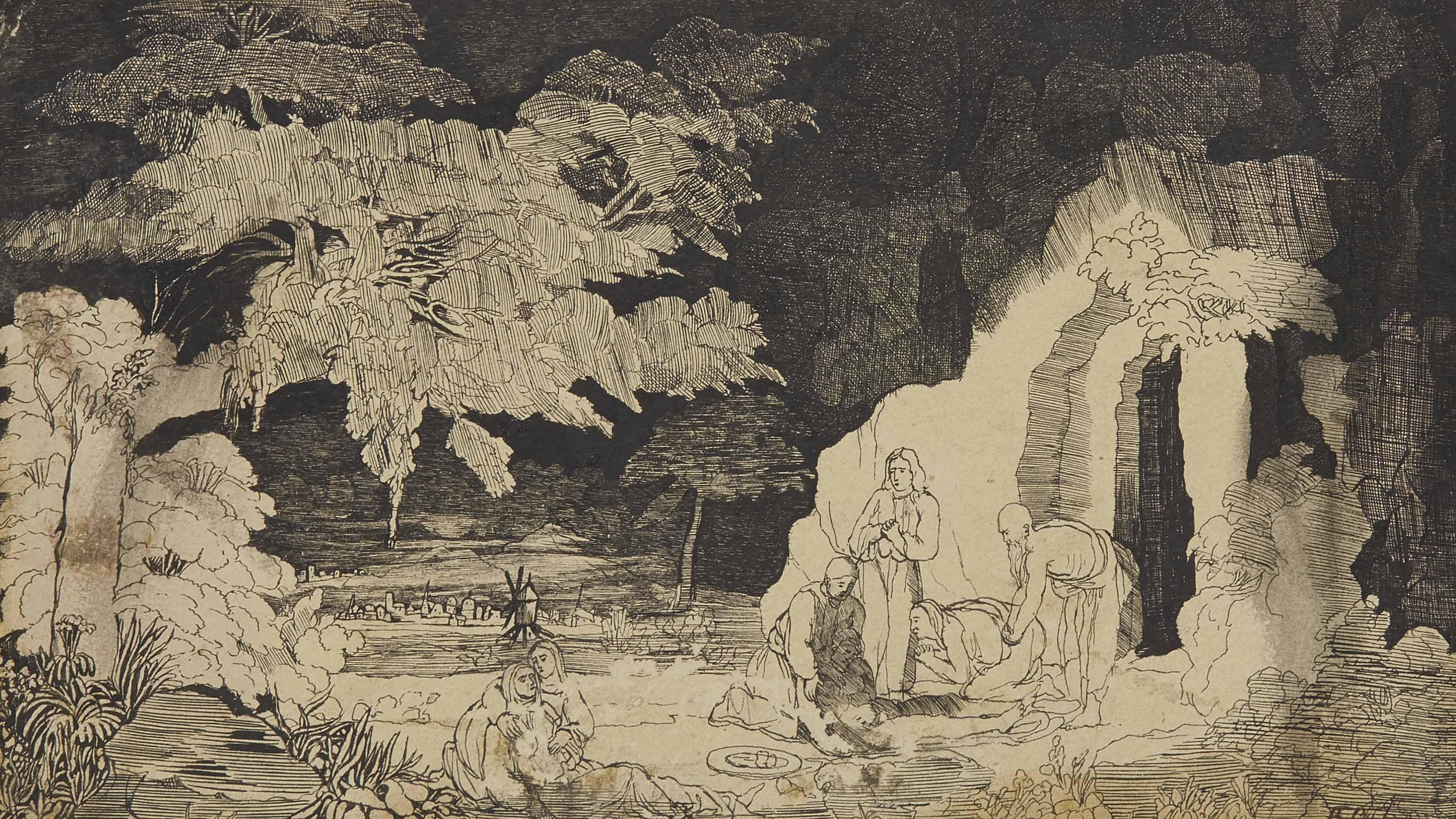 Mise au tombeau, un paysage à l'arrière-plan