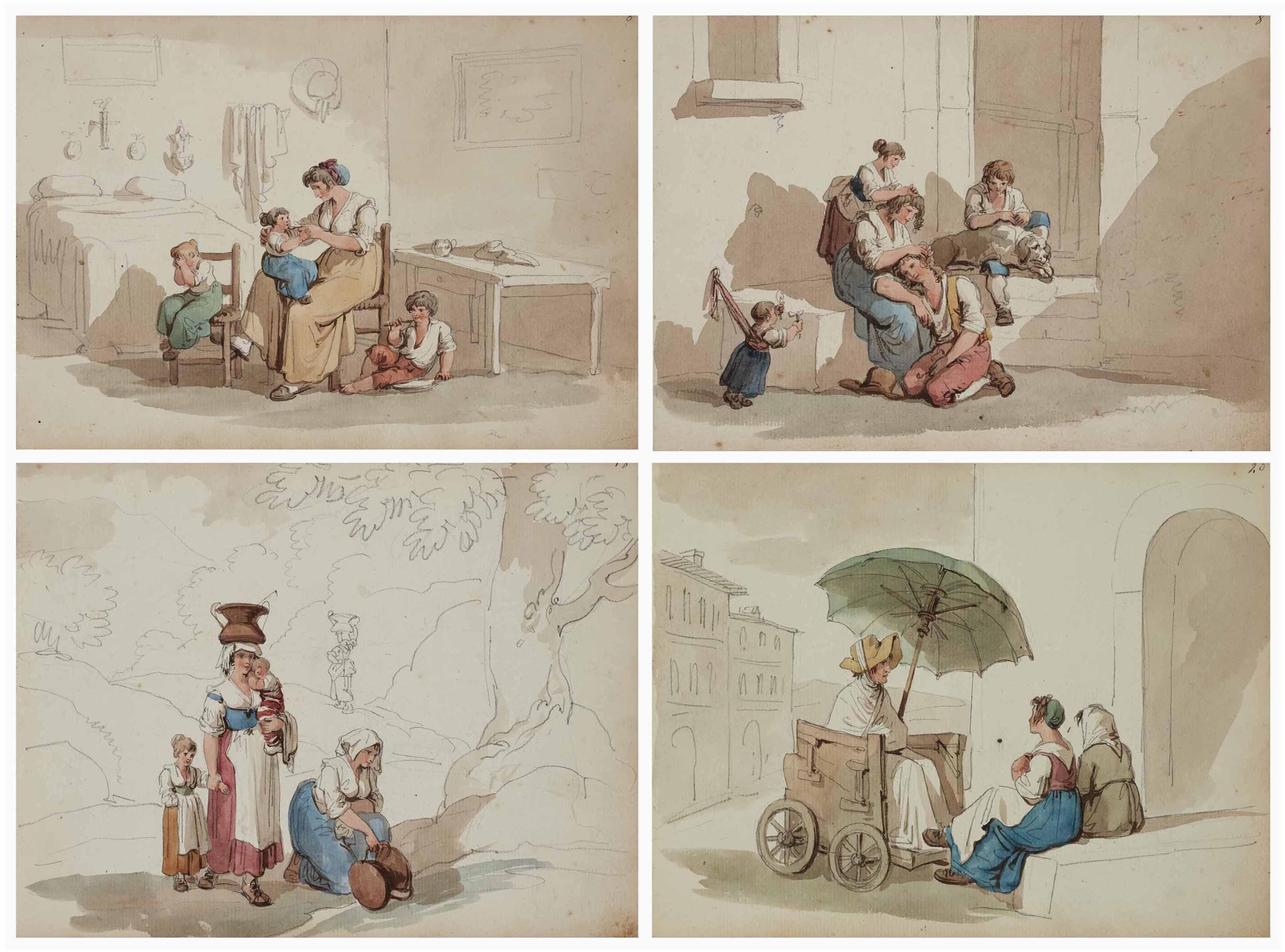 Album relié de vingt-quatre études d'italiens occupés aux travaux de la vie quotidienne: musiciens, lavandières, paysans, mères et enfants