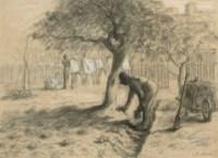 Homme désherbant au pied d'un arbre, une femme étend du linge à l'arrière-plan ('Le jardinage')