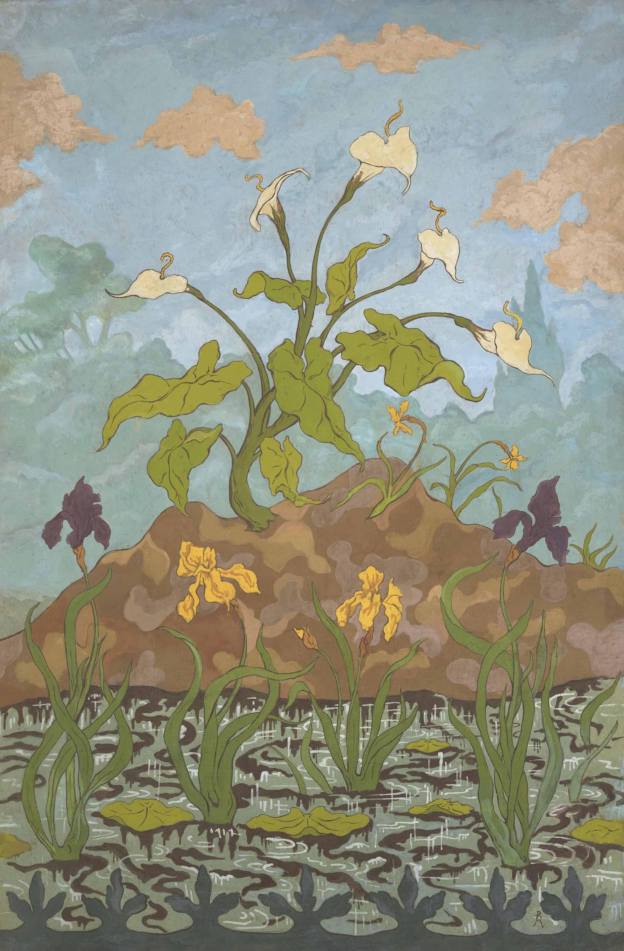Arums et iris violets et jaunes