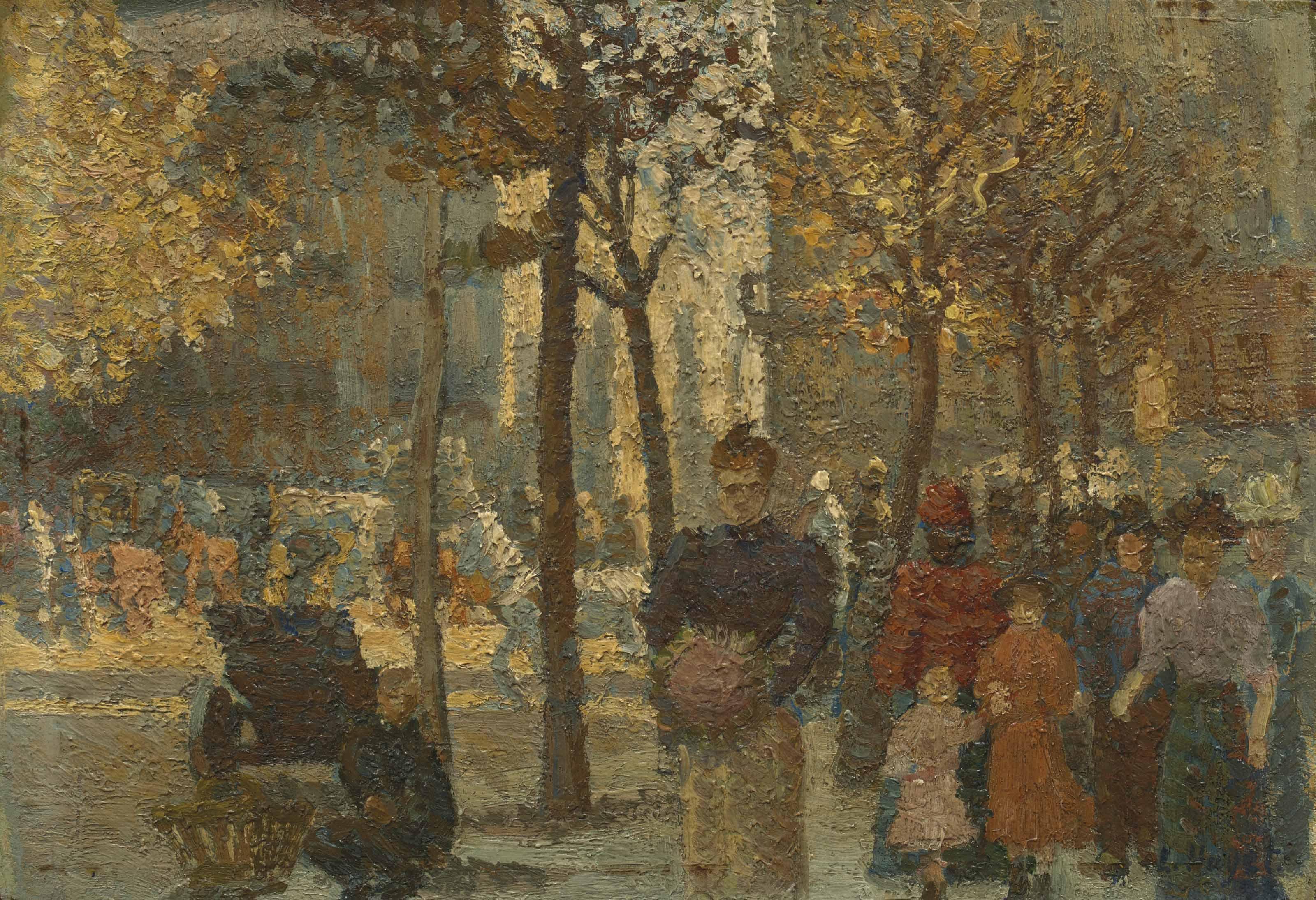 Scène de rue en automne