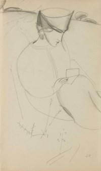 Femme au chapeau dans un paysage (recto); Étude de femme au chapeau (verso)