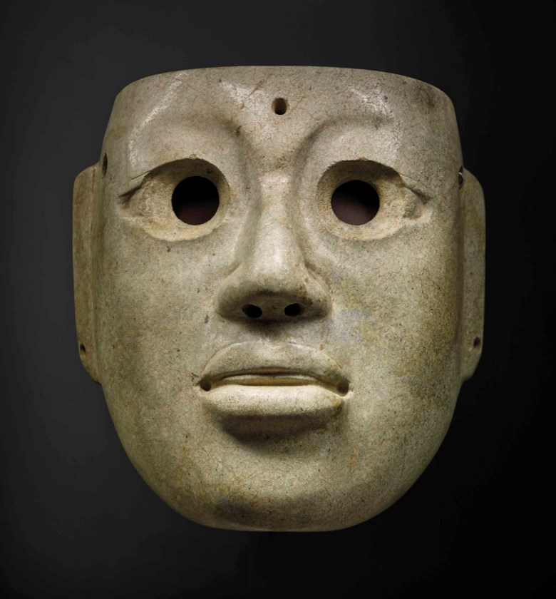 Olmec jade mask of a dignitary, Preclassic, circa 900-300 B.C., Mexico. Width 20  cm (7⅞  in). Sold for €307,500 in Arts dAfrique, dOcéanie et dAmérique  on 10 April 2018  at Christie's in Paris