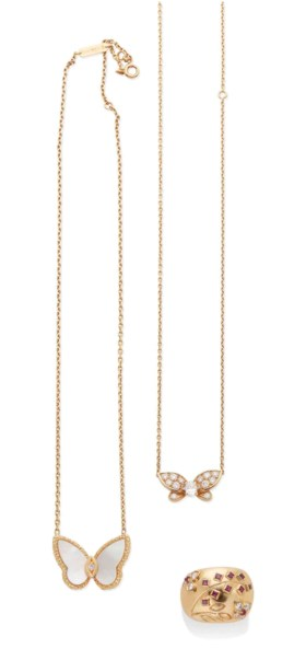 COLLIER NACRE ET DIAMANTS, COLLIER DIAMANTS ET BAGUE GRENATS