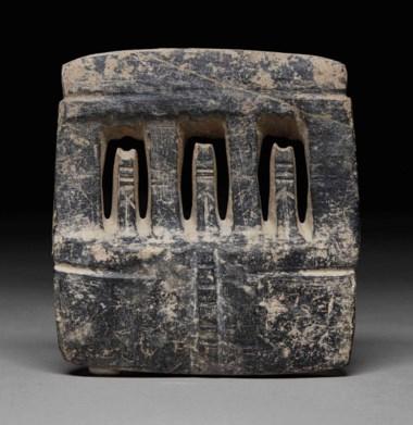 Mezcala stone four-post temple, Preclassic, circa 300-100 B.C. Height 16.3  cm (6¼  in). Sold for €9,375 in A Quantum of History The Prigogine Collectionon 9 April 2018  at Christie's in Paris